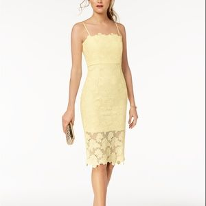 Bardot Lace Sheath Dress Yellow Size M